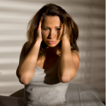 Frustrated women in bed