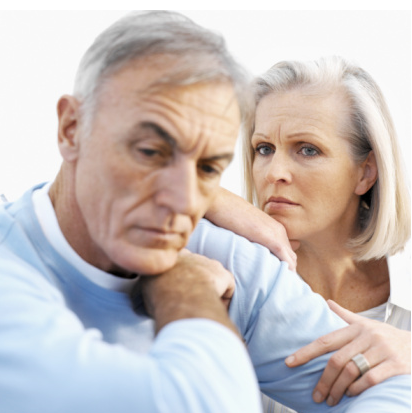 Unhappy aged couple