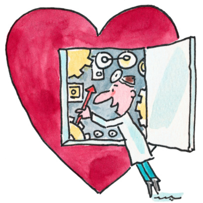 Cartoon of heart surgery