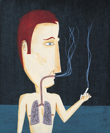illustration of a man smoking