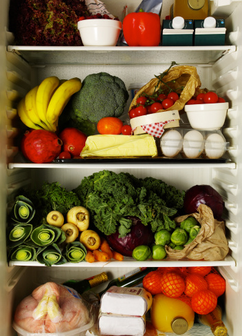 Fridge filled with fruits and veggies