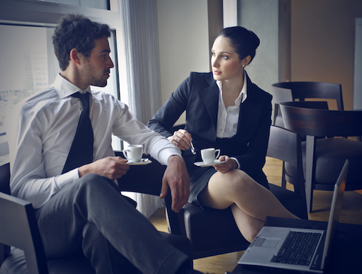 Couple talking in an office
