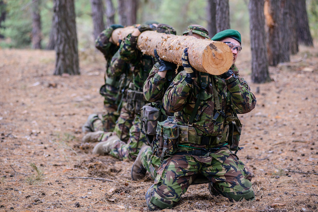 soldiers training outdoors